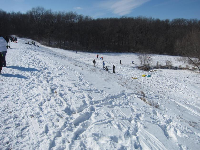 Snow Sledding at Hickory Hill Park, Iowa City